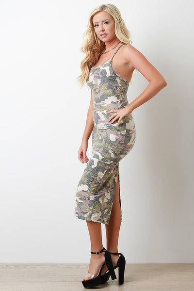 Distressed Camouflage Crisscross Back Midi Dress