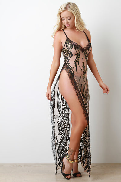 Filigree Mesh Lace Slit Maxi Dress