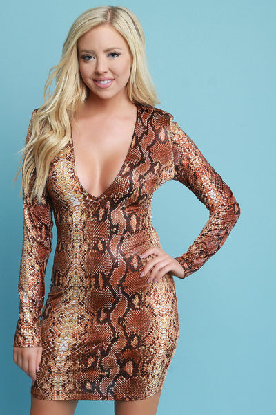 Python Snake Print Deep-V Bodycon Dress