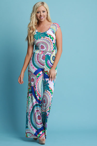 Bohemian Round Print Butterfly Back Palazzo Jumpsuit