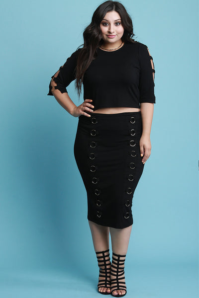 Ring Embellished Elbow Sleeves Crop Top