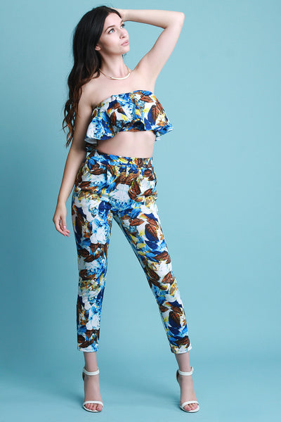Floral Flutter Bardot Crop Top With High Waisted Pants Set
