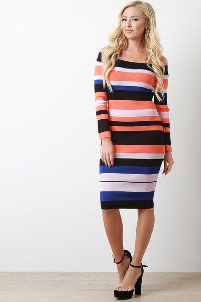 Striped Knit Bardot Bodycon Midi Dress