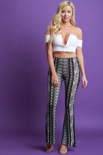 Jersey Knit Bohemian Print High Waisted Flare Pants