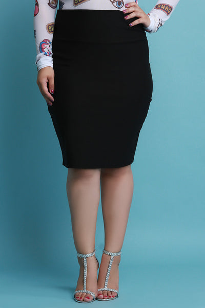 Stretchy Knit High Waisted Pencil Midi Skirt