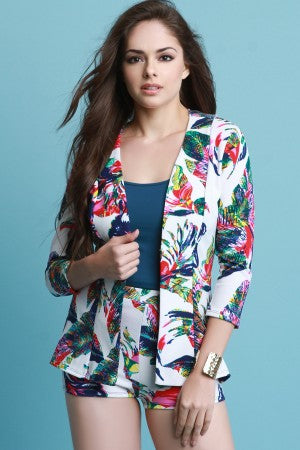 Tropical Leaf Print Open Blazer With High Waisted Shorts Set