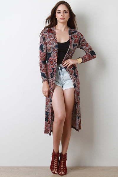 Paisley Print Open Front Longline Cardigan