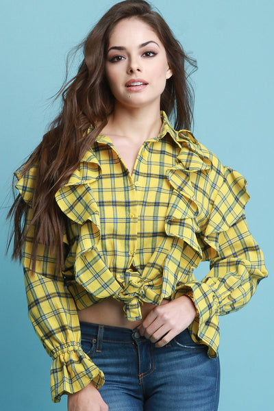 Princess Ruffle Seam Statement Sleeve Plaid Button Up Top