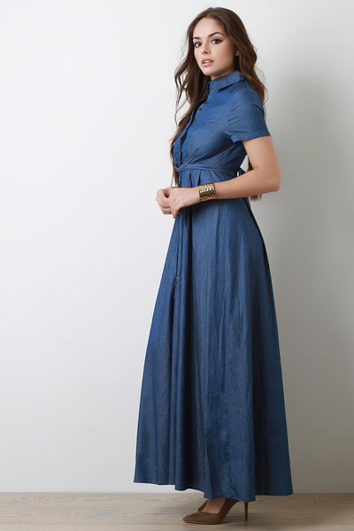 Button-Up Waist Tied Denim Maxi Dress