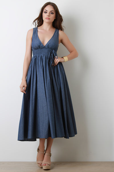 Smock Empire A-Line Denim Midi Dress