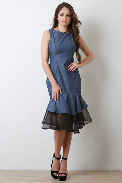 Mesh Mermaid Hem Denim Dress