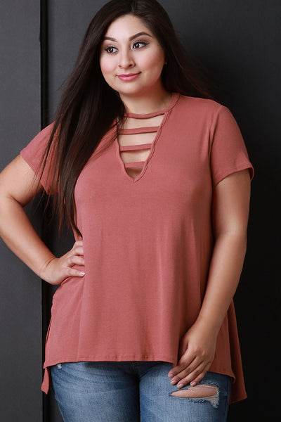 Strappy Keyhole Short Sleeves High Low Top
