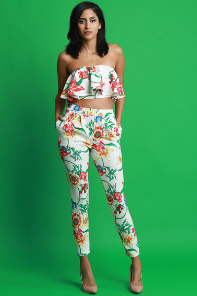 Floral Print Ruffle Tube Top With High Waist Pants Set
