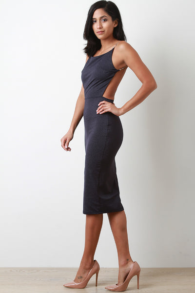 Foil Square Neck Chain Backless Bodycon Midi Dress
