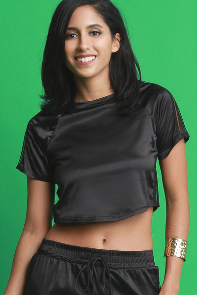 Elastic Striped Satin Crop Top
