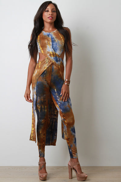Tie Dye Jersey Knit Maxi Top With High Rise Leggings Set