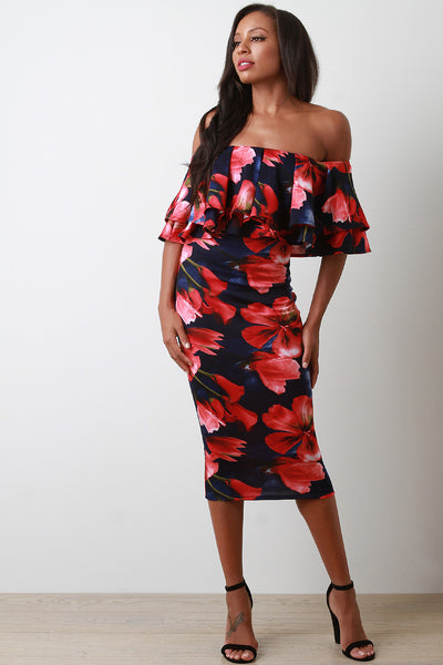 Floral Tier Ruffle Off-The-Shoulder Bodycon Midi Dress