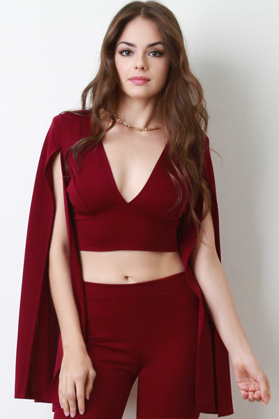 V-Neck Slit Long Sleeve Crop Top