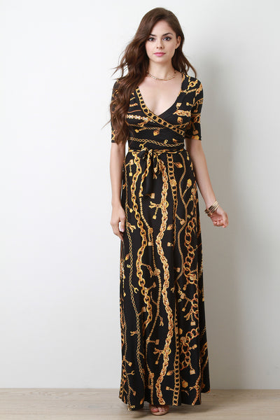 Chain Print Surplice Maxi Dress