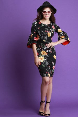 Floral Bell Sleeve Bodycon Midi Dress