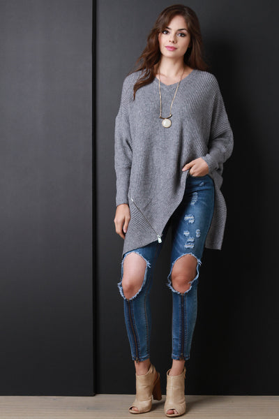 Chunky Knit Asymmetrical Zipper Sweater Top