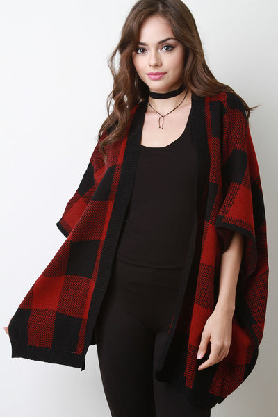 Gingham Sweater Knit Open Front Poncho