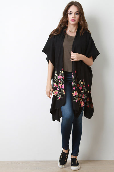 Soft Knit Floral Embroidery Open Kimono Cardigan