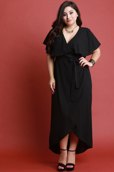 Flutter Tier Surplice Wrap Dress
