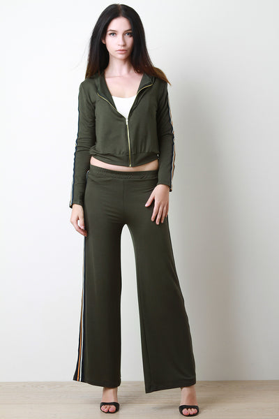 Striped Side Hoodie and Relaxed Fit Pants Set