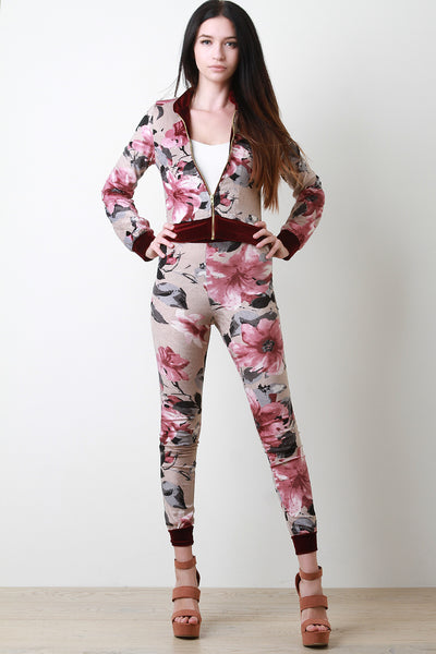 Velvet Floral Jacket With High Waisted Pants Set