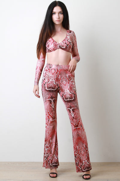 Two Piece Snake Print Crop Top with Flare Pants