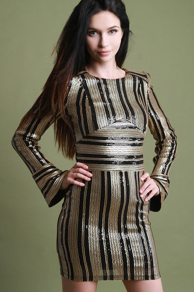 Sequins Striped Bell Sleeve Mini Dress