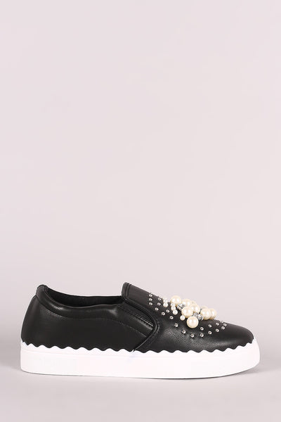 Bamboo Faux Jewels And Pearls Embellished Slip-On Sneaker