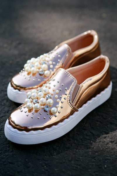 Bamboo Faux Jewels And Pearls Embellished Patent Slip-On Sneaker