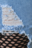 High Waisted Distressed Fishnet Skinny Denim Jeans