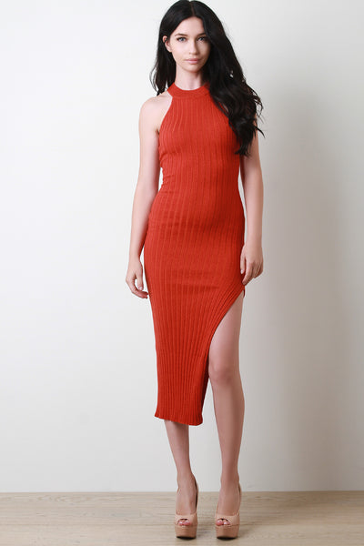 Glitter Ribbed Knit Leg Slit Bodycon Dress