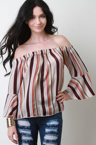 Multi-Color Striped Bell Sleeve Bardot Top