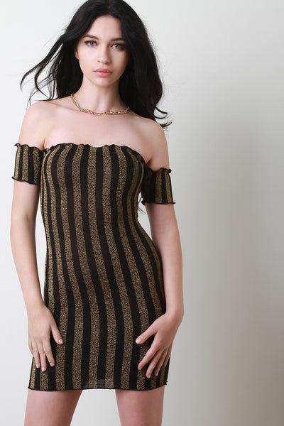 Striped Glitter Bardot Bodycon Dress