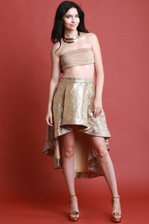 Rainbow Metallic A-Line High Low Skirt