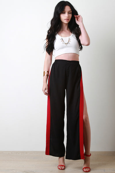 Striped Trim Side Slit Palazzo Pants