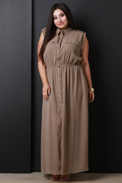 Button-Up Ruched Waist Sleeveless Maxi Dress