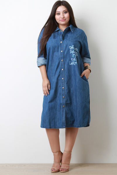 Graphic Print Denim Button Up Pocket Shirt Dress