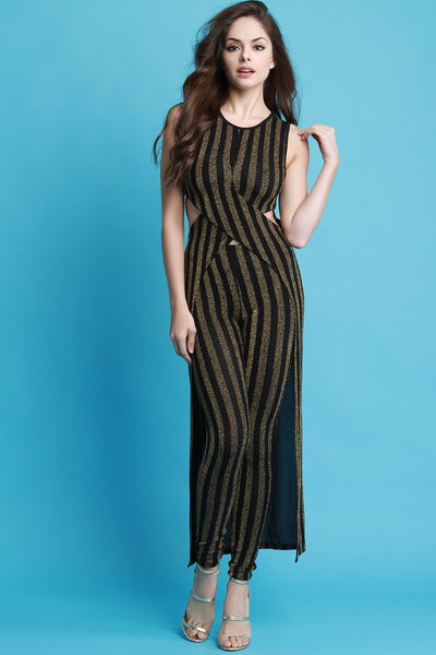 Metallic Striped Maxi Top With High Waisted Pants Set