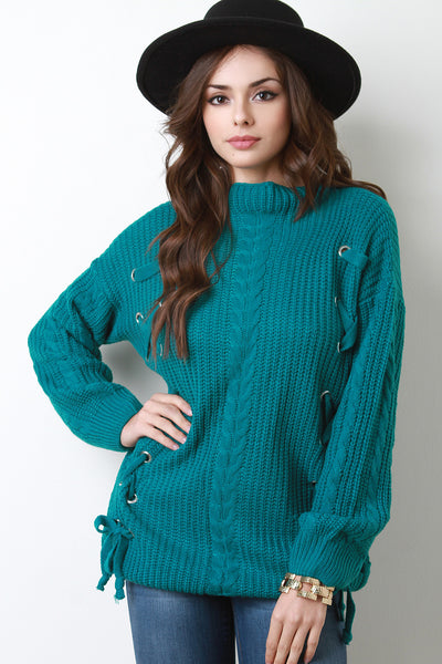 Eyelet Lace-Up Cable Knit Sweater Top