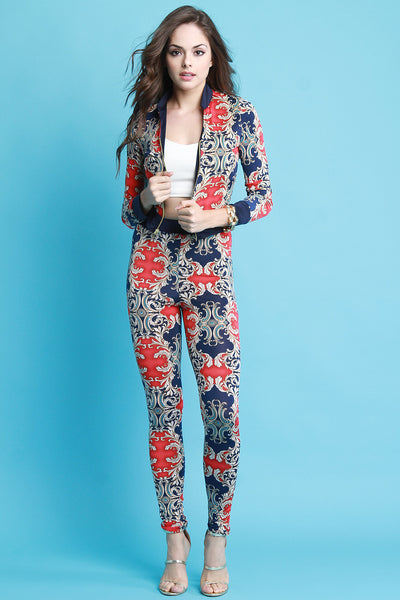 Baroque Print Jacket with High Waist Leggings Set