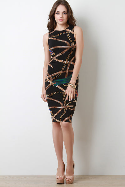 Chain Print Sleeveless Midi Dress