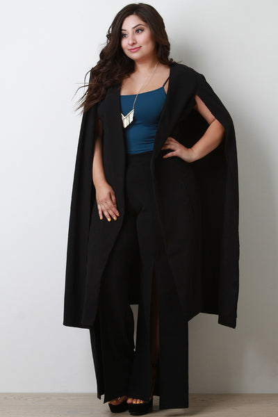 Long Line Open Front Batwing Cape Blazer