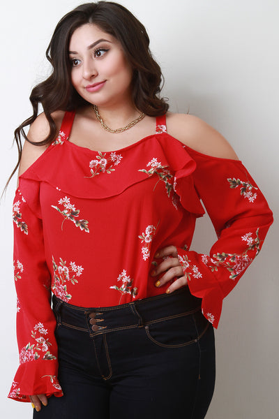 Trumpet Sleeves Ruffle Cold Shoulder Top