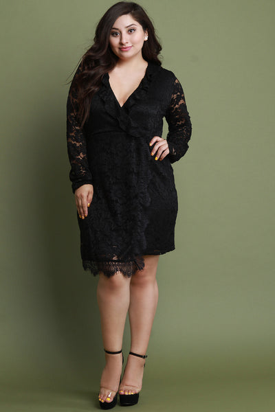 Floral Lace Ruffled Surplice Long Sleeves Sheath Dress