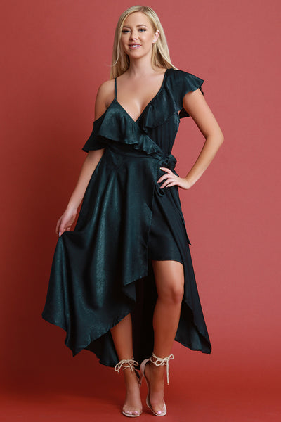 Satin Ruffle Asymmetrical Wrap Maxi Dress